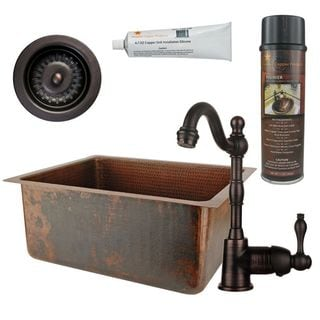 Premier Copper Products BSP4_BREC20DB-D Bar/ Prep Sink, Faucet and Accessories Package