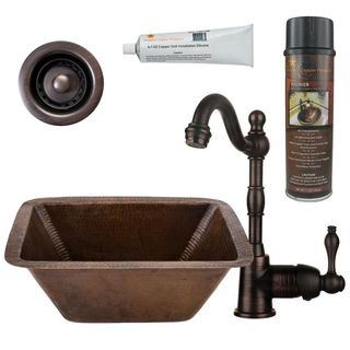 Premier Copper Products BSP4_BRECDB2-B Bar/ Prep Sink, Faucet and Accessories Package