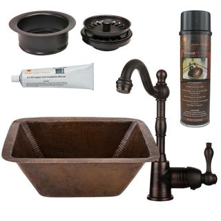 Premier Copper Products BSP4_BRECDB3-G Bar/ Prep Sink, Faucet and Accessories Package