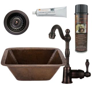 Premier Copper Products BSP4_BRECDB3-D Bar/ Prep Sink, Faucet and Accessories Package