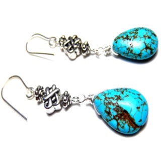 Celtic Knot Blue Turquoise Drop Earrings