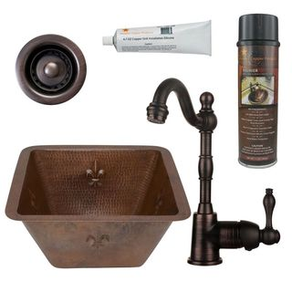 Premier Copper Products BSP4_BS15FDB2-B Bar/ Prep Sink, Faucet and Accessories Package