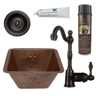 Premier Copper Products BSP4_BS15FDB3-D Bar/ Prep Sink, Faucet and Accessories Package