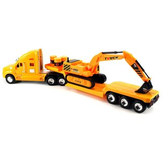 Heavy Construction Semi Trailer Remote Control RC Semi-Truck RTR with Removable Toy Excavator, Barrels
