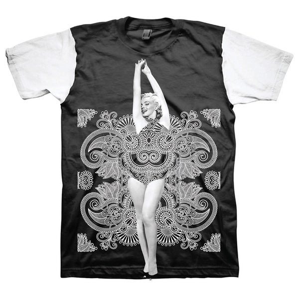 Marilyn Monroe Bandana Men's Colorblock Graphic Short Sleeve T-Shirt