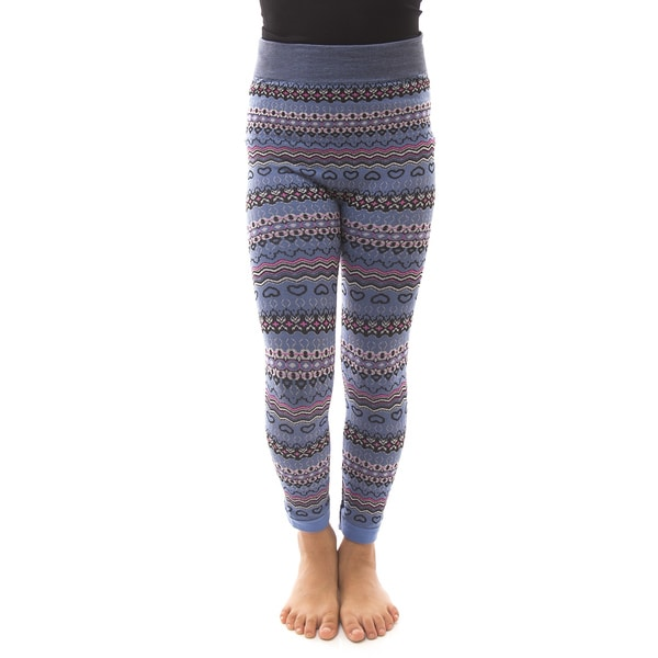 Soho Kids Girls' Blue Heart Winter Fleece Leggings