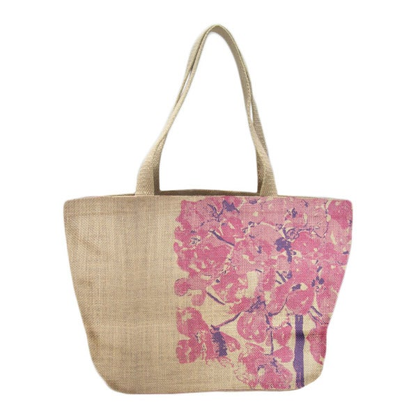 Carolina Floral Jute Shopper Tote Bag