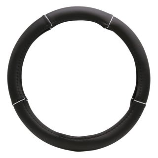 """Fit 15"""" Black Silver Ring Steering Wheel Cover"""