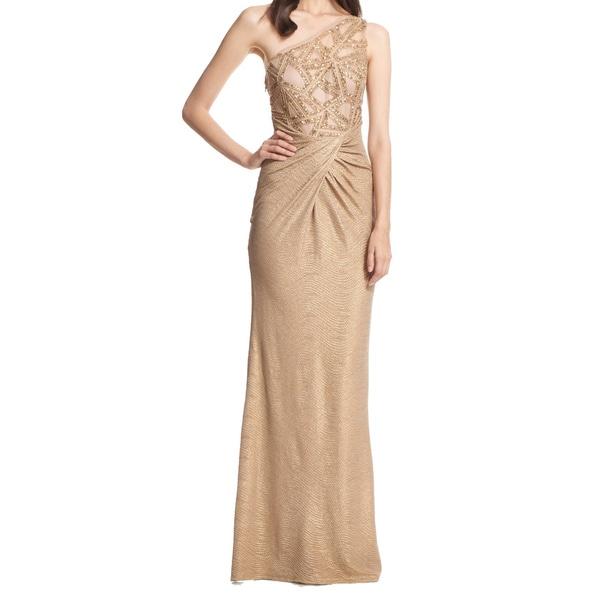 David Meister One Shoulder Beaded Metallic Evening Gown Dress