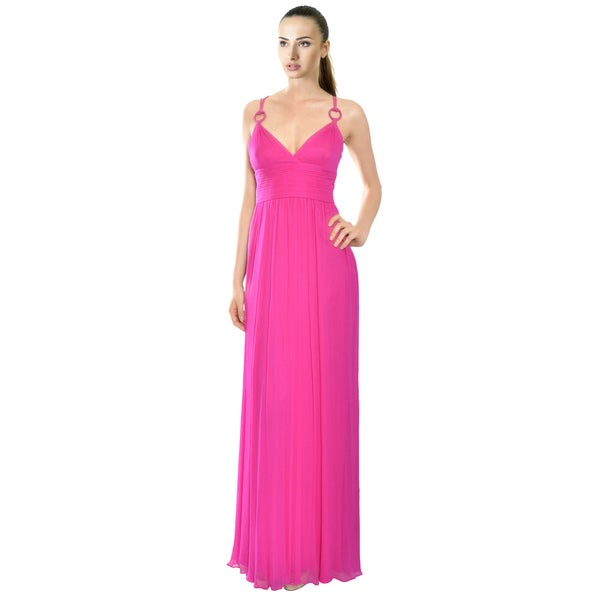 Aidan Mattox Fuschia Crinkle Silk Eve Dress