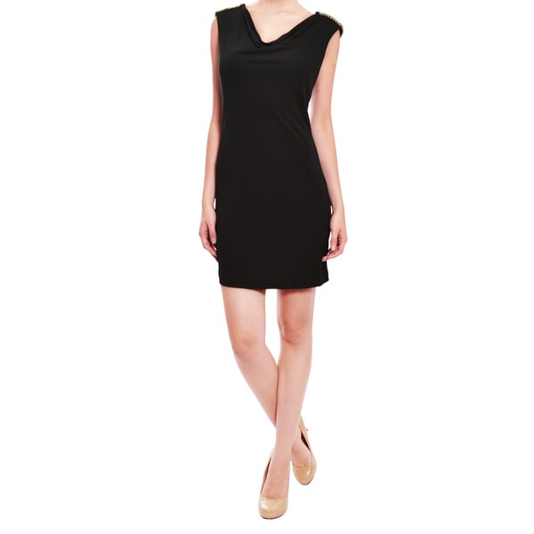 A.B.S. Rhinestone Black Jersey Cocktail Dress