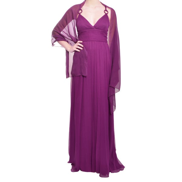 Aidan Mattox Magenta Crinkle Silk Chiffon Ruched Evening Gown Dress
