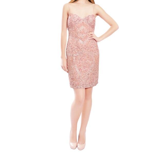 Aidan Mattox Precious Pink Chiffon Sequin Encrusted Cocktail Eve Dress