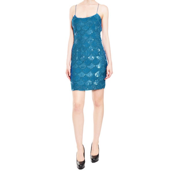 Aidan Mattox Fully Beaded Sequin Ocean Blue Dress