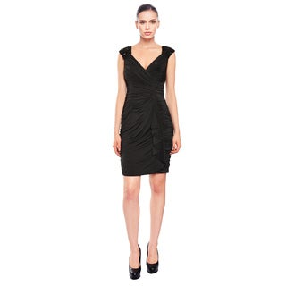 Aidan Mattox Enticing Ruched Beaded Black Cocktail Evening Dress
