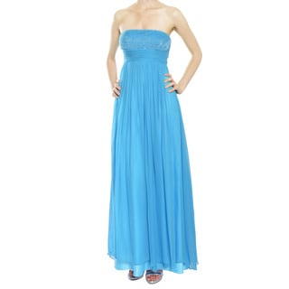 Aidan Mattox Ocean Blue Silk Chiffon Beaded Sequins Eve Gown Dress