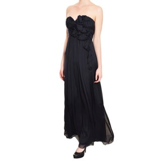 A.B.S. Midnight Silk Rosette Long Strapless Evening Gown Dress