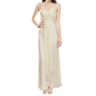 A.B.S. Whimsical Off White Ruched Rhinestone Long Evening Gown Dress