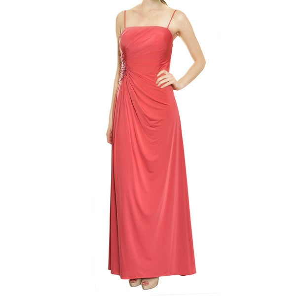 Aidan Mattox Slinky Rhubarb Strapless Jersey Knit Ruched Long Gown Dress