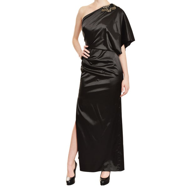 Aidan Mattox Luxe Black Satin One Shoulder Sequin Draped Eve Gown Dress
