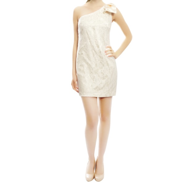 Aidan Mattox Flirty Fitted One Shoulder Ivory Lace Mini Bow Evening Dress