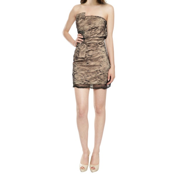 A.B.S. Tailored Black Nude Lace Fitted Strapless Cocktail Eve Dress