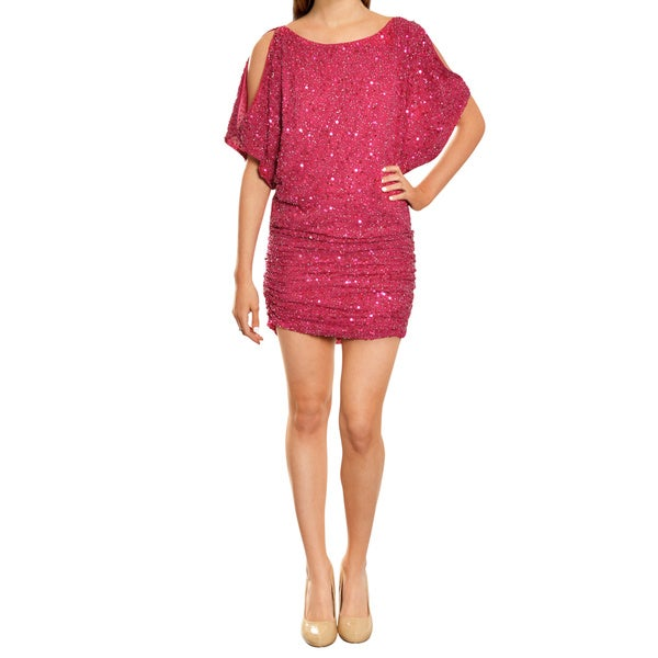 Aidan Mattox Deep Berry Sequin Cold Shoulder Fitted Cocktail Evening Dress