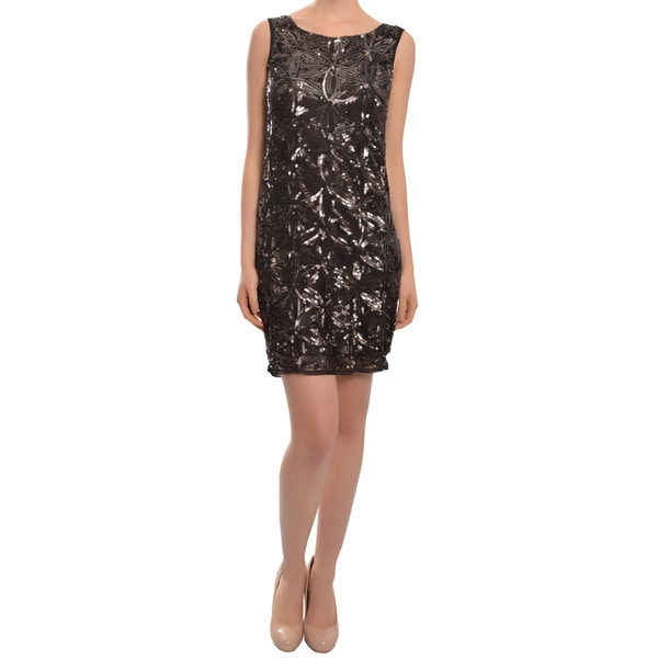 Aidan Mattox Luscious Chocolate Sequin Fitted Sleeveless Cocktail Dress