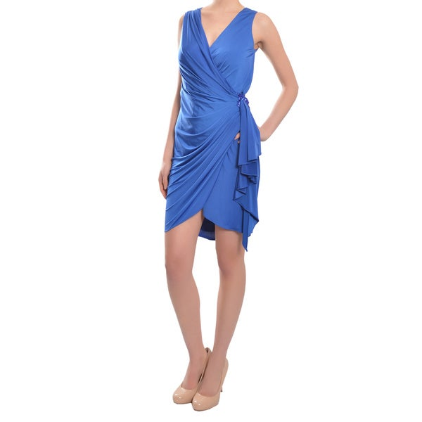 Aidan Mattox Amazing Vibrant Blue Jersey Knit Cocktail Evening Wrap Dress