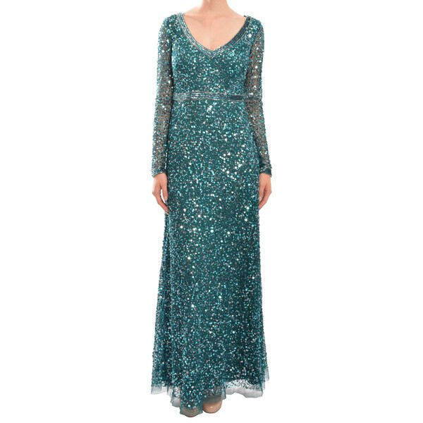 Aidan Mattox Dazzling Emerald Green Long Sleeve Sequin Evening Gown Dress