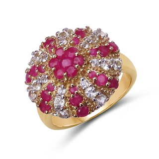 Malaika 14k Yellow Goldplated Silver Ruby and White Topaz Ring