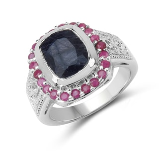 Malaika Sterling Silver Sapphire and Ruby Ring