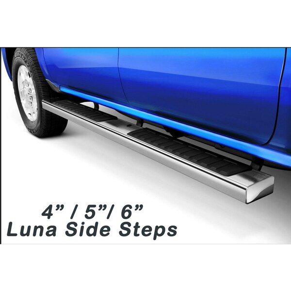 2004 2008 Ford F150 Super Crew Cab Luna Series Stainless Steel 6 Inch Flat Oval Side Step