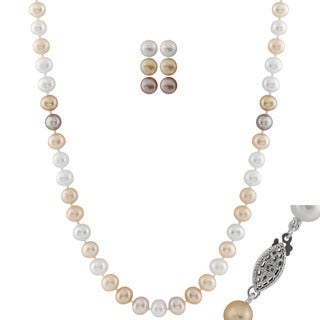 Multi-color Pearl Necklace and Set of 3 Studs (7-7.5 mm)