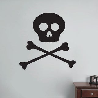 Skull and Crossbones Wall Decal 24 inches wide x 24 inches tall