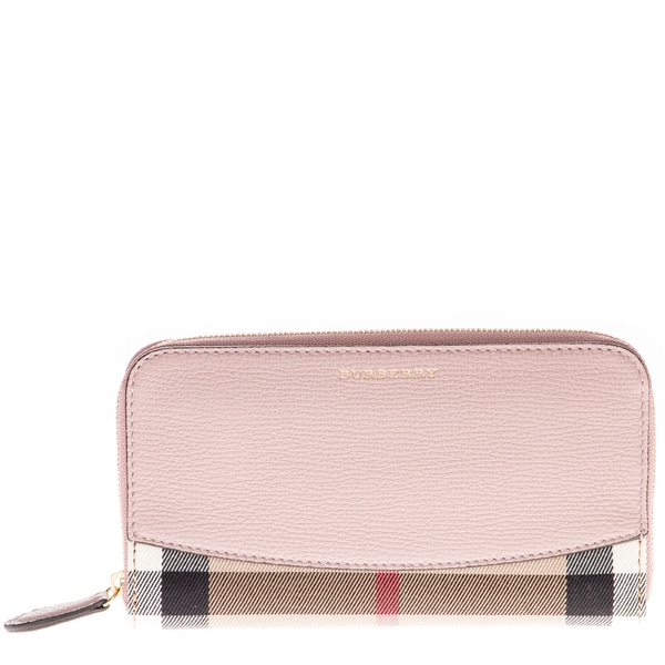 Burberry House Check and Pink Leather Zip-Around Wallet