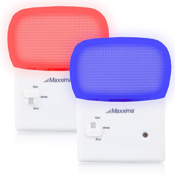 Maxxima LED Multi-Color Red White Blue Night Light with Switch and Sensor (Pack of 2)