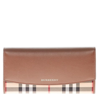 Burberry Horseferry Check and Beige Leather Continental Wallet