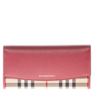Burberry Horseferry Check and Rose Leather Continental Wallet