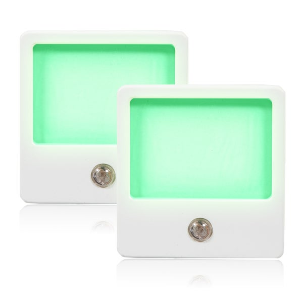 Maxxima Green LED Night Light with Dusk to Dawn Sensor (Pack of 2)