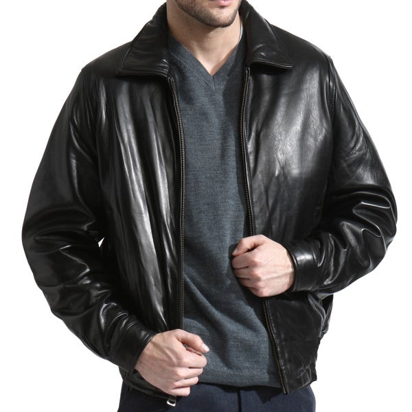 Black Lambskin Leather Bomber Jacket (Size XL)