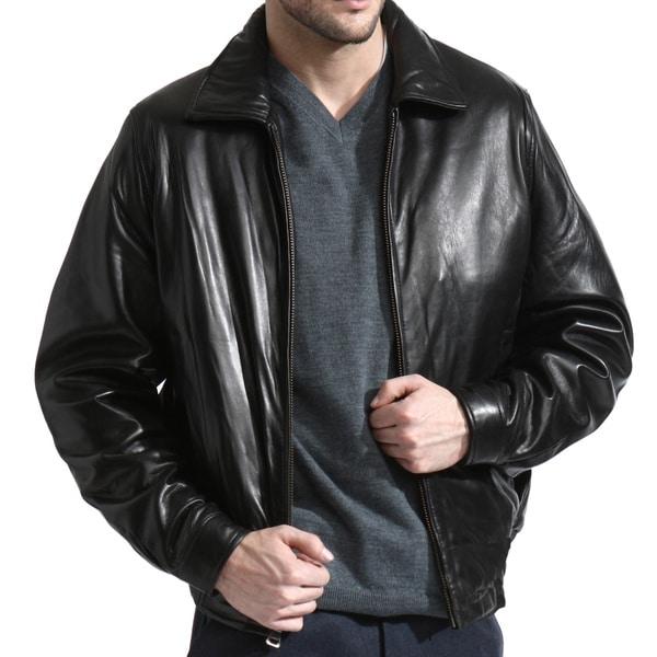 Black Lambskin Leather Bomber Jacket (Size XL)