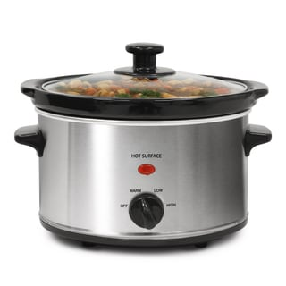 Stainless Steel 2-quart Oval Slow Cooker with 3 Heat Settings