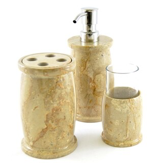 Sahara Beige Marble Bathroom Accessory 3-piece Set