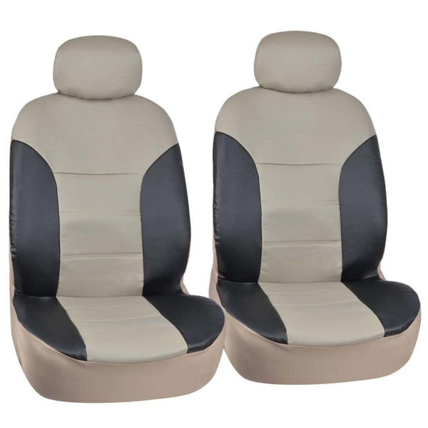 Motor Trend Black/Beige Two Tone PU Leather Car Seat Covers Classic Accent Premium Leatherette Front Pair