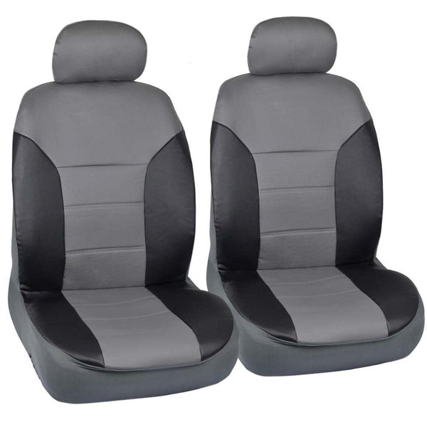 Motor Trend Black/Grey Two Tone PU Leather Car Seat Covers Classic Accent Premium Leatherette Front Pair