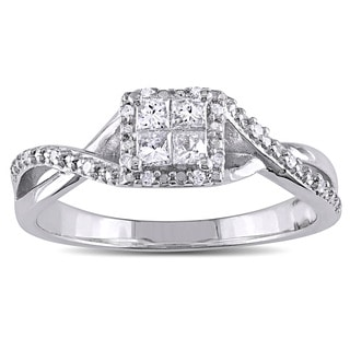 Miadora Sterling Silver 1/4ct TDW Princess-cut Diamond Crossover Halo Engagement Ring (G-H, I2-I3)