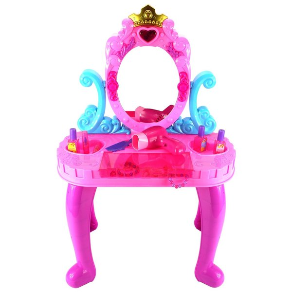 Velocity Toys My Crown Vanity Children's Pretend Play Battery Operated Toy Beauty Mirror Vanity Playset
