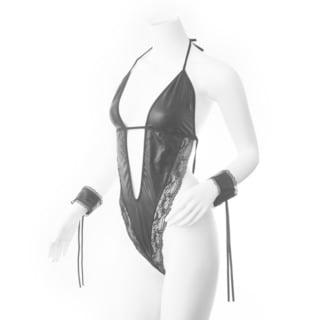 Zodaca Women's Black Leather Lingerie Underwear Sleepwear with Handcuff
