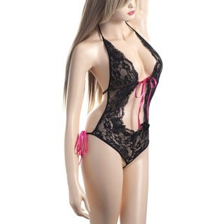 Zodaca Women's Black Sexy Lingerie Pierced Lace Piece Suit Underwear with Pink Ribbon